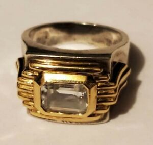 Franklin Mint Sterling Silver And 14kt Gold Ring Size 4. 5