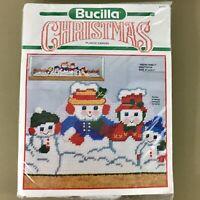 "Snow Family Draftstop 33.5""wide plastic canvas kit Bucilla snowman Christmas new"