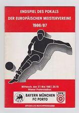 Orig.PRG   European Cup 1986/87   FINAL  FC PORTO - BAYERN MÜNCHEN  !  VERY RARE