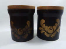 2 Vintage Denby Bakewell Design Lidded Storage Jars Large
