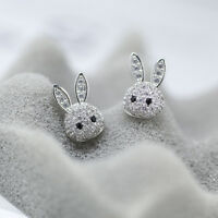 925 Sterling Silver Cute Paved CZ Bunny Rabbit Girls Stud Earrings Jewellery