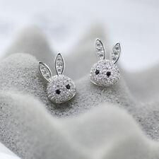 925 Sterling Silver Cute Paved CZ Bunny Rabbit Girls Stud Earrings Jewellery