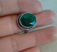 NATURAL GREEN EMERALD 925 STERLING SILVER RING SIZE 6 HANDMADE JEWELRY