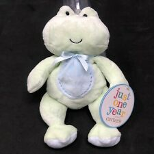 """Carters Just One Year Green Frog Plush Stuffed Animal 8"""" Lovey Nwt Style# 98748"""
