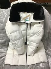 Michael Michael Kors Women's Belted Hood Faux Fur Puffer Coat   Off White Large