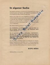 HAMBURG-ALTONA, Werbung 1941, Riepe-Werk Rotring Tintenkuli