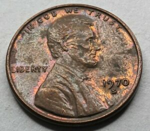 1970 - S - Lincoln Memorial Cent - Doubled Date & Mint Mark - Toning (Q447)