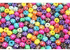 MIX 40 Stück Holzperlen bunte Perlen Punkte 10mm #8122