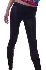 Miley Cyrus Shiny Black Leggings Stretch Pants Hot Pants Zip Bottom Medium NEW
