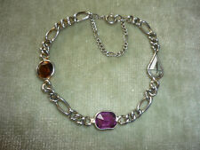 Sweet Silver Tone Bracelet With 3 Stones Of Orange, Purple & Clear