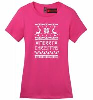 Merry Christmas Ladies Soft T Shirt Reindeer Ugly Sweater Xmas Party Gift Tee Z4
