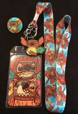 Stitch Tiki Lanyard With Stitch Tiki Button Pin.