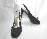 Women's Life Stride Black Peep Toe Slingback Shoes Size US 10 M