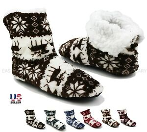 Womens Fuzzy Soft Warm Fleece Lined Ankle Booties Slippers House Shoes Size 6-10