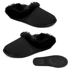 New Sm 5 6 CHARTER CLUB Microvelour Clog Memory Foam Fur Slippers Black Womens