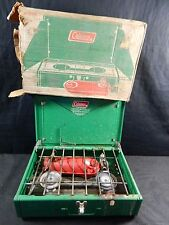 Vintage Coleman Green 425E 2 Burner Gas Camp Stove in Box with Instructions