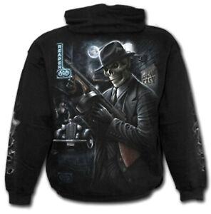 Kapuzensweatshirt Spiral Gangster Skull Gun Sweatshirt schwarz Gothic Gr. XXL
