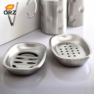 2 Pcs/Set Stainless Steel Soap Box Dishes Holder Bathroom Storage Rack Set