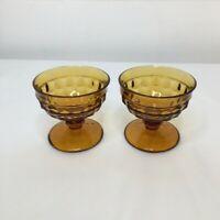 Vintage Amber Dessert Serving Dishes Set Of (2) Footed Pedestal