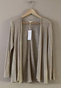 NWT Eileen Fisher 100% Organic Linen Pebble Cross Over Open Cardigan PL