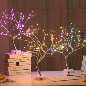 LED Touch Mode Adjustable Tree Night Light Copper Wire USB Table Desk Lamp Decor