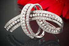 Schmuck Brosche 3 Carat Brillanten / Diamanten Faszinierende Nadel 750 Weißgold