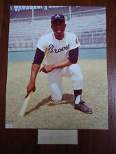 "Hank Aaron Autographed Cut Signature with 8"" X 10"" Photo and Souvenir Program"