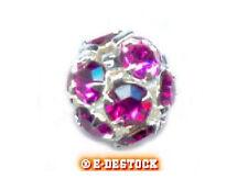 1 Perle Boule strass argentée 8 mm boheme - FUSHIA - FUCHSIA