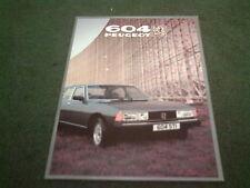 1982 Model / Sept 1981 PEUGEOT 604 STi V6 / SRD TURBO DIESEL -UK COLOUR BROCHURE