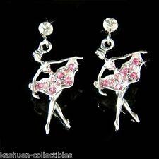 Pink w Swarovski Crystal ~BALLERINA~ The Nutcracker Ballet Dancer Dance Earrings