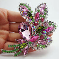 Elegant colorful crystal Rhinestone flower leaf brooch pin Pendant