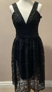 Rochelle Humes Deep V Lace Dress Size 10 Black Cocktail Party Evening BNWT