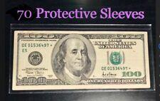 70 SEMI-RIGID Vinyl Money Protector Sleeves US Dollar Bill CURRENCY HOLDERS BCW