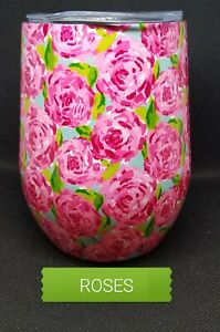 """ROSES  Stemless Wine Tumbler LILLY inspired """"Hotty Pink""""  Mother's Day Bday Gift"""
