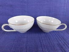 Hira Fine China H-111 CUPS -SET of TWO *have more items Gray, Blue Border Line