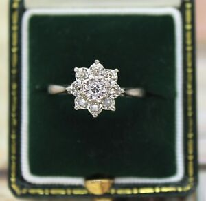 18CT WHITE GOLD DIAMOND CLUSTER RING SIZE L 1/2, STAR, 0.25 CT DIA, ENGAGEMENT