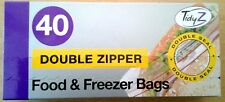 40 Double Zipper Freezer Bags,Strong Easy press slide seal,Ideal for lunch boxes
