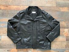 Calvin Klein Mens Black 100% Leather Jacket Biker Classic Casual Size XL
