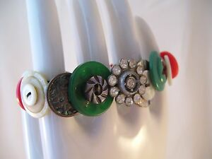 Vintage Buttons Chunky Stretch Bracelet MOP Rhinestones Hand Made OOAK