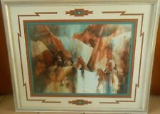 VTG INDIAN/HORSE CAMOUFLAGE--GLORIA REDFIELD RIGGS-L.E. SIGNED # -FRAMED, MATTED