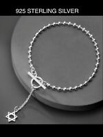 Sterling Silver 925 Ball Chain Boule Toggle Bracelet Designer Style Top Quality