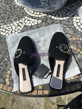Zara Black Mules With Buckle 6 39 Loafers Shoes New BNWT