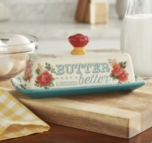 NEW Pioneer Woman Vintage Floral Butter Dish Stoneware Teal Bottom Red Knob