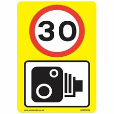 30 Mph & Speed Camera Signs [3 X Pack] - A4 Vinyl Stickers, Yellow Background...