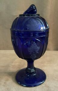 Glass MMA Museum Modern Art Imperial Grapes Pedestal Covered Dish candy cobalt