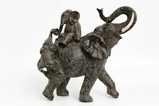 Mother Elephant with Young Elephants Climbing On Her Back Figurine