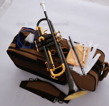 Professional Gold Bell Black nickel Trumpet Horn Monel Turquoise Key 2Mouthpiece