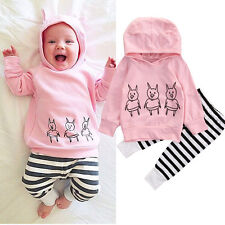 Pink Newborn Infant Baby Girls Clothes Hoodie Tops + Pants Leggings 2Pcs Outfits