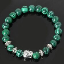 Energy Stone Malachite Bracelet Natural Stone Beads Sliver Buddha Yoga Bangle