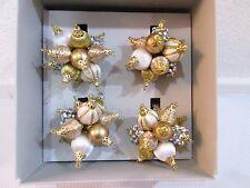 KIM SEYBERT CHRISTMAS GOLD ORNAMENTS NAPKIN RING HOLDERS Set of 4